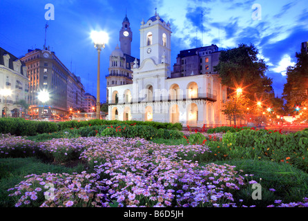 "National Cabildo building at ""Plaza de Mayo"" (Mayo Square) in the dusk, Buenos Aires, Argentina - Stock Photo"