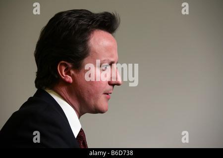 Conservative party leader David Cameron profile 21/4/08 - Stock Photo
