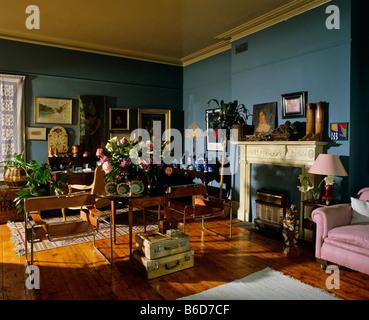 Eighties Style Living Room Interior - Stock Photo