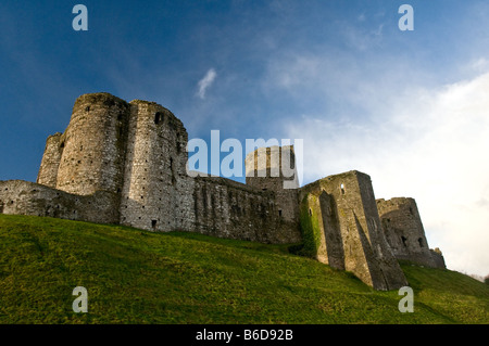 Kidwelly or Cydweli Castle in Carmarthenshire West Wales - Stock Photo