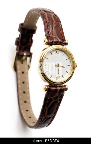 Ladies wrist watch with a brown leather strap - Stock Photo