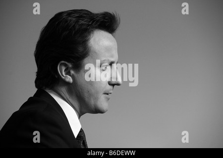 Conservative party leader David Cameron profile black and white - Stock Photo