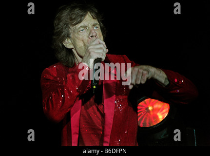 Mick Jagger,old looking  on stage - Stock Photo