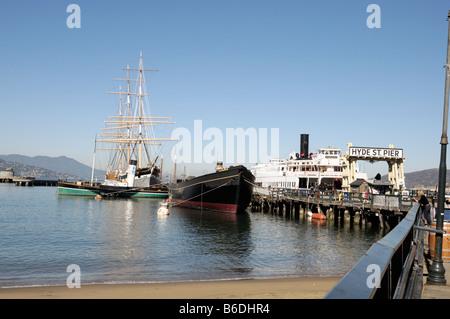 Hyde Street Pier, Fisherman's Wharf, San Francisco CA - Stock Photo