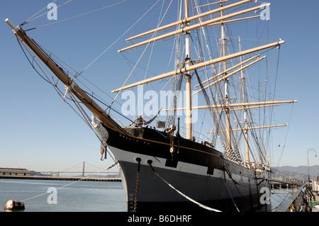 Sailing ship Balclutha docked at Fisherman's Wharf San Francisco California - Stock Photo