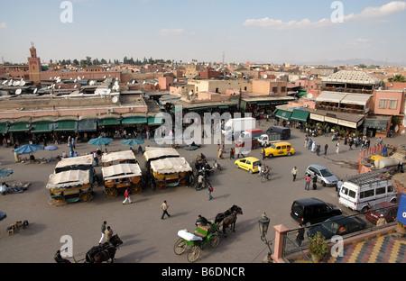 Djemaa el Fna - main square in Marrakech, Morocco - Stock Photo
