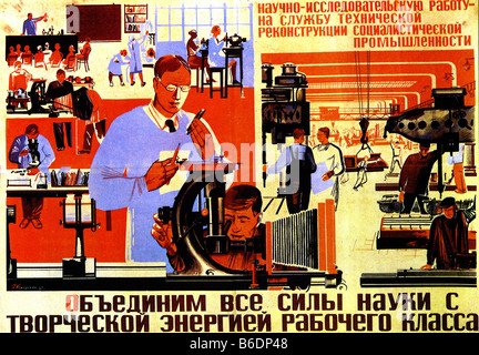 SOVIET RUSSIAN poster 1932 says 'We must unite the power of science with the creative energy of the proletariat' - Stock Photo