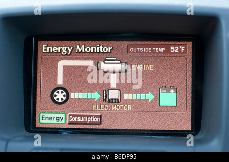 The Energy Monitor of a Toyota Prius October 4 2008 - Stock Photo