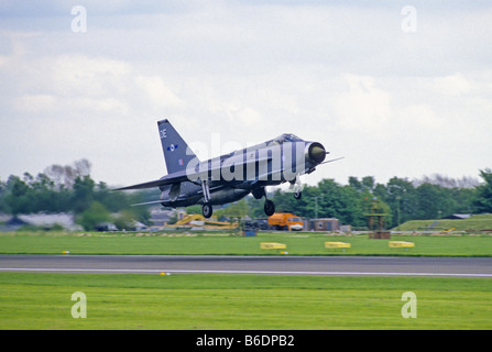 English Electric Lightning is to Land at Mildenhall Airfield England - Stock Photo