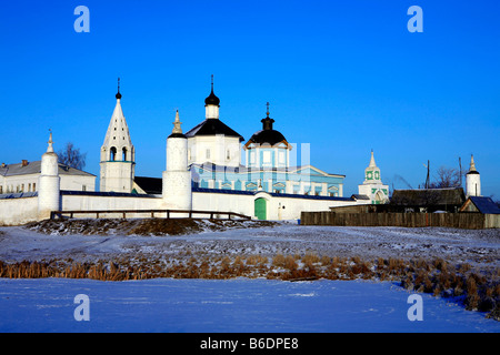 The 14th century Bobrenev Monastery in Kolomna, Russia during wintertime - Stock Photo
