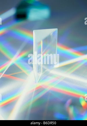 White light being refracted as it passes through a triangular prism to produce a spectrum (rainbow) - Stock Photo