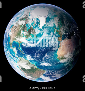 Blue Marble image of Earth. Composite satellite image of Earth, western hemisphere,centred on the Atlantic Ocean. - Stock Photo