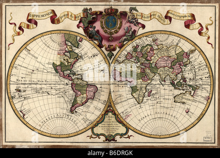 18th century map of the world. Published in Parisin 1720, this French map shows the known world. - Stock Photo