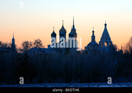 Panoramic view of the Kremlin of Kolomna, Russia during wintertime - Stock Photo