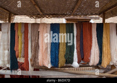 Selection of naturally dyed silk used at a Government run carpet weavers and dyer. Khiva Old town, Itchan Kala, - Stock Photo