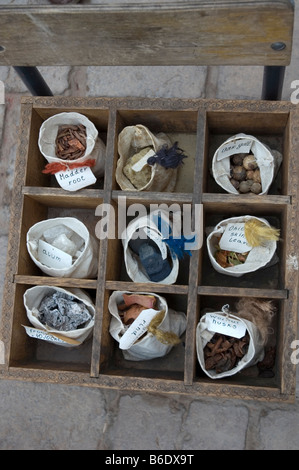 Selection of natural dyes used at a Government run carpet weavers and dyer. Khiva Old town, Itchan Kala, Uzbekistan. - Stock Photo