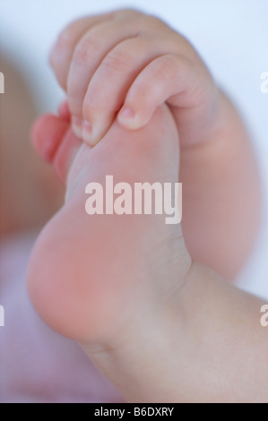 Baby's foot and hand. Hand of a 4-month-old baby girl holding her foot. - Stock Photo