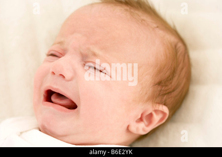 Baby girl crying - Stock Photo