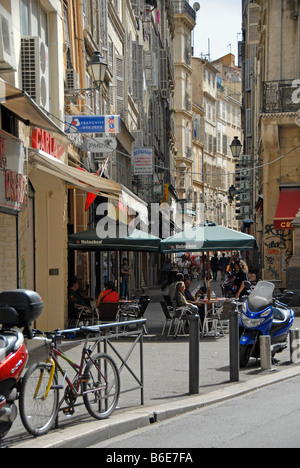 Cafe in a narrow side street, Marseille, Provence, France, Europe - Stock Photo