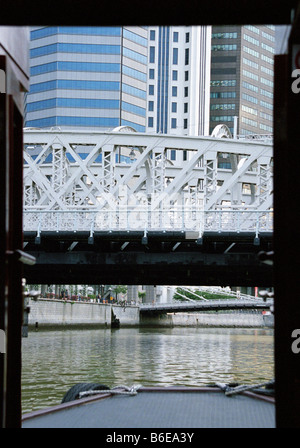 Anderson Bridge from Tourist Boat, Singapore River, Singapore - Stock Photo
