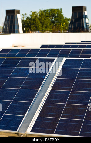 Solar panels on top of the Middle School Building at Sidwell Friends School in Washington, DC. - Stock Photo