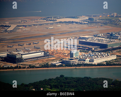 China Hong Kong Chek Lap Kok International Airport aerial view - Stock Photo