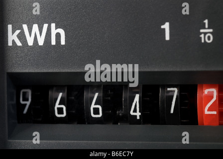 Domestic electricity meter, Suffolk, UK. - Stock Photo