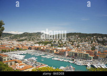 Aerial view of the port of Nice, France - Stock Photo