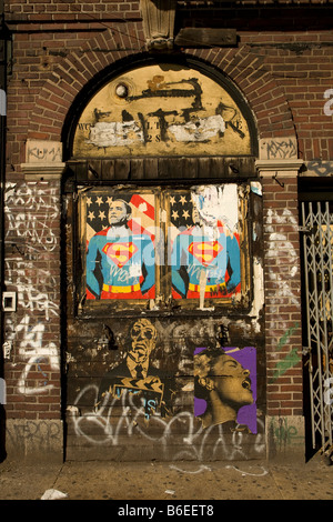 Barack Obama as superman on a wall in the East Village in NYC - Stock Photo