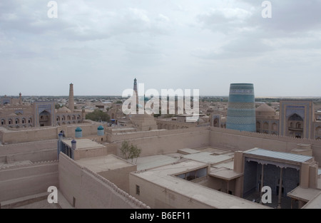 View over the Old town of Itchan Kala in Khiva, Uzbekistan - Stock Photo