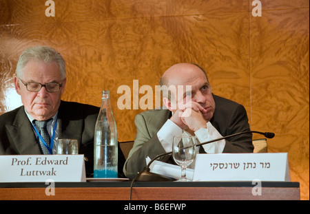 Nathan Sharansky, chairman of the Adelson Institute and Prof. Edward Luttwak during the Dec. 2008 Counterinsurgency - Stock Photo
