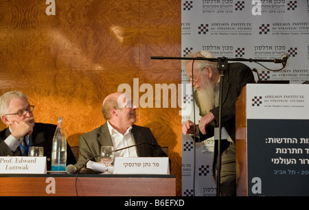 Nathan Sharansky,Noble prize winner prof. Robert Aumann and prof. Edward Luttwak during Adelson Institute's Dec. - Stock Photo