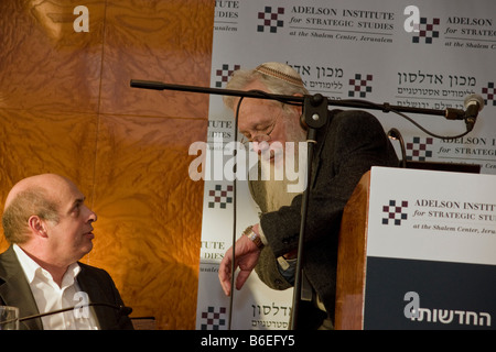 Nathan Sharansky and Noble prize winner Prof. Robert Aumann during Adelson Institute's Dec. 2008 Counterinsurgency - Stock Photo
