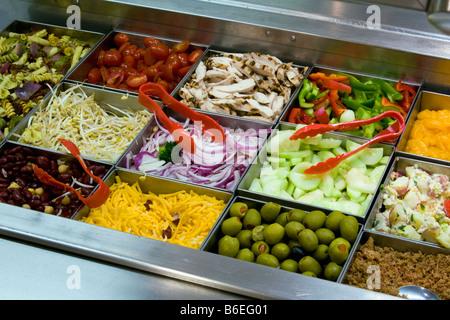 USA, New York State, Salad bar - Stock Photo