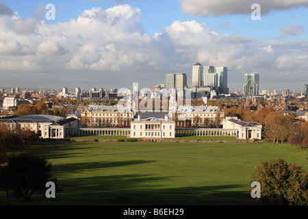 View from Greenwich Park towards the National Maritime Museum, Docklands and Canary Wharf, London. - Stock Photo