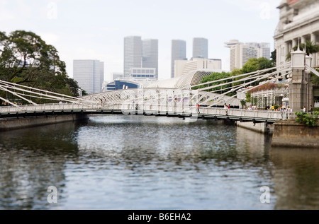 Cavenagh Bridge near Fullerton Hotel Singapore - Stock Photo