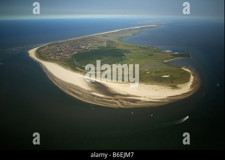 Aerial view, Langeoog Island with protected landscape area Flintduene, East Frisian Islands, Lower Saxony, Germany, - Stock Photo