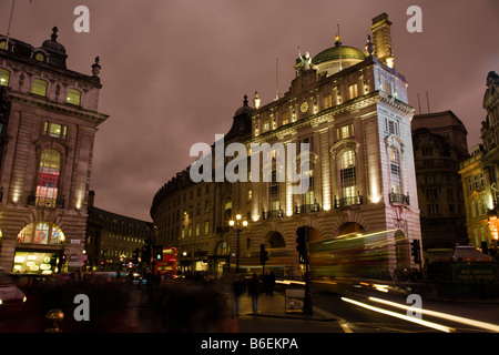 london picadilly circus night city time exposure - Stock Photo