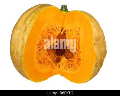 big round orange pumpkin sliced in half - Stock Photo