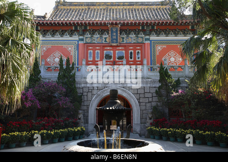 China Hong Kong Lantau Island Po Lin buddhist monastery - Stock Photo