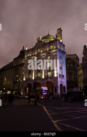 long night exposure of building overlooking Piccadilly circus regent street london - Stock Photo