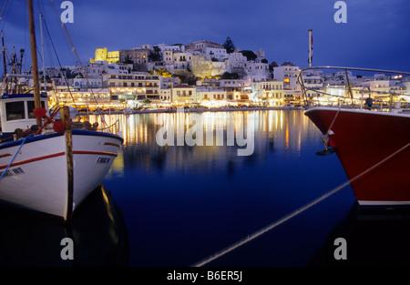 Harbour, Naxos city, Naxos Island, Greece, Europe - Stock Photo