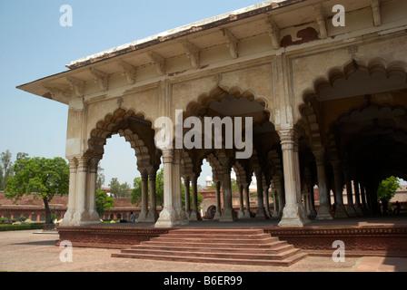 The Diwan-i-am Palace (Hall of Public Audiences) inside Agra Fort, Uttar Pradesh, India. - Stock Photo