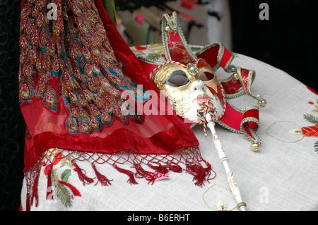 Decoration in a mask shop in Burano, Venice, Venezia, Italy, Europe - Stock Photo