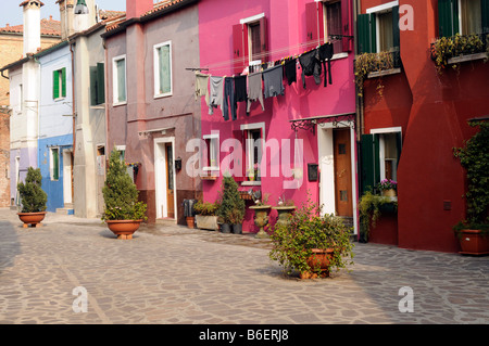 Typical colored houses in Burano, Venice, Venecia, Italy, Europe - Stock Photo