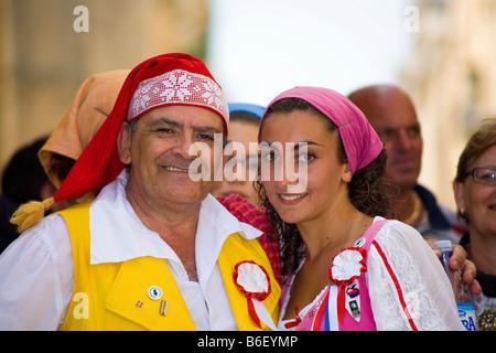 Members of Astra Folk Group, Grupp Folkloristiku Astra, Valletta, Malta - Stock Photo