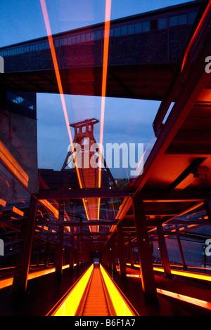 illuminated escalator of World Heritage Site Zeche Zollverein, Germany, North Rhine-Westphalia, Ruhr Area, Essen - Stock Photo