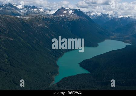Aerial view of Cheakamus Lake - Stock Photo