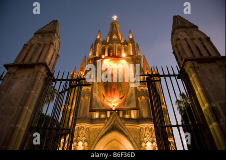 Parroquia Church at dusk, Colonial center of San Miguel de Allende, MEXICO - Stock Photo