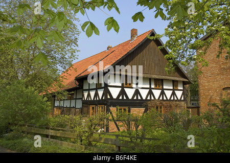 timber framed house at Klein Solschen, Germany, Lower Saxony, Ilsede - Stock Photo